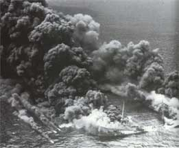 A burning tanker off the Atlantic coast during World War II
