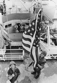 Marines raised the American flag aboaard SS Mayaguez