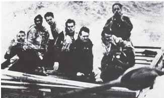 Seamen on a wooden life raft