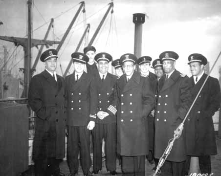 Captain Hugh Mulzac and officers of the SS Booker T. Washington