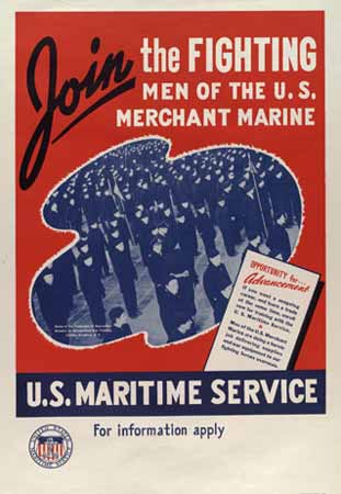 Join the fighting men of the U.S merchant marine poster