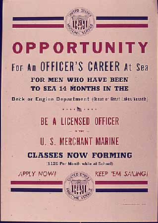 Opportunity for an Officer Career at Sea poster